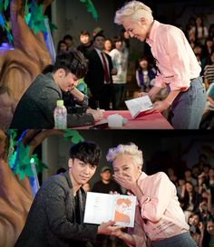 "G-Dragon, the fanboy, at Seungri's ""Lets Talk About Love"" album signing event. ♥"