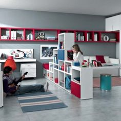 Charming Contemporary Teen Room Designs by MisuraEmme:  Teenagers Rooms Photo 14: Red White Blue Contemporary Teenagers Room