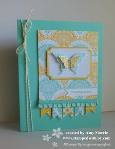 handmade card ...Eastern  Elegance Butterfly ... luv this color grouping with aqua, yellow and white .. patterned paper ... die cuts ... luv it!!