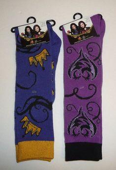 Lot of 2 Pairs - Disney Descendants Knee High Socks Size 9-11 Shoe Size 4-10 #PlanetSox #KneeHigh
