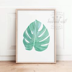 Tropical wall art PRINTABLE artmonstera by TheCrownPrints on Etsy