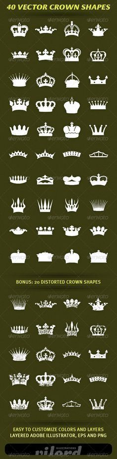 40 Vector Crown Shapes - Decorative Symbols Decorative