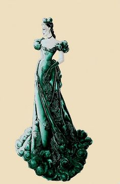 Plunkett's concept sketch of the gown Scarlett wears to Ashley's birthday party, in keeping with Margaret Mitchell's description of the gown as being green (which was Mitchell's favorite color).
