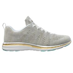 The APL® TechLoom Pro in White/Silver/Gold is the latest version of the classic APL running shoe that started a movement. The bright two-tone contrasting upper is accented by Glacier Blue details. Perfect for the gym and the street, the one piece woven upper is composed of innovative performance textiles to create a truly intriguing visual. Cushioning is provided by the proprietary APL Propelium® midsole/outsole for extreme comfort and clean looks. The TechLoom Pro is truly whe...