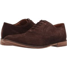 Hush Puppies Style Brogue (Dark Brown Suede) Men's Lace Up Wing Tip... ($85) ❤ liked on Polyvore featuring men's fashion, men's shoes, men's oxfords, brown, mens wingtip dress shoes, mens brogue shoes, mens shoes, mens lace up shoes and mens brown dress shoes