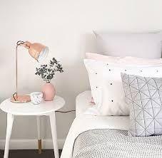 Resultado de imagem para rose gold and gray bedroom