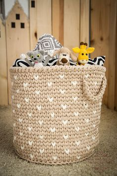 Crochet storage fabric basket for loundry and nursery toy kids room - great idea for organizing and decoration. Made of hight qality cotton T-shirt yarn - possible in MANY colors from palette! Playroom Storage, Kids Room Organization, Organizing Ideas, Lego Storage, Crochet Storage, Crochet Toys, Cotton Crochet, Toy Storage Baskets, Laundry Storage