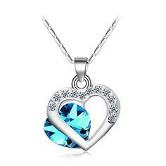 A La Mode Prussian Blue Crystal Corazon Pendant