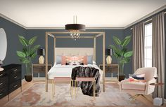 The inspiration for this bedroom design was a romantic, luxe bedroom that displayed both feminine and masculine elements. Online Interior Design Services, Beautiful Bedrooms, Service Design, Glam Bedroom, Modern, Inspiration, Furniture, Home Decor, Homemade Home Decor