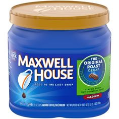 Maxwell House Original Medium Roast Decaf Ground Coffee, Decaffeinated, oz Can, Multi-Color Coffee Shake, Coffee Drinks, Benefits Of Drinking Coffee, Decaf Coffee, Drip Coffee, Coffee Latte, Maxwell House Coffee, Coffee Ingredients, Coffee Substitute