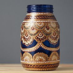 Mason Jar Decor- Three Bohemian Style Mason Jars, Cobalt Blue Glass with Detailing in Copper, Gold, and Cream Monogram Painting, Dot Painting, Painting Canvas, Glass Jars, Candle Jars, Bohemian Style, Boho, Painted Jars, Hand Painted