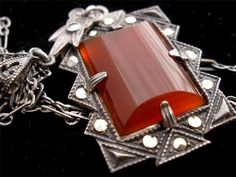 "Antique Lavalier Carnelian Sterling Silver Macasite Art Deco Estate 18"" Necklace 