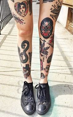 Traditional Leg Tattoos for Girl