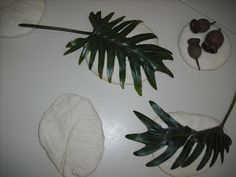 Leaf prints in natural playdough.