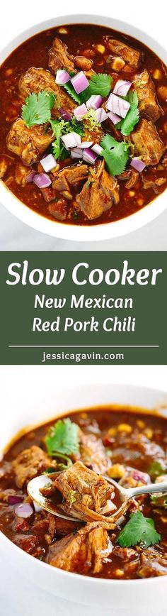Slow Cooker New Mexican Red Pork Chili - This hearty recipe is packed with rich spices, extremely tender pork, corn, and beans. A simple and easy to prepare meal that's great for a crowd! | jessicagavin.com
