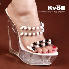 T24462 Kvoll Skull Rivet Transparent Wedge Heel Slipper White [T24462] - $26.75 : China,Korean,Japan Fashion clothing wholesale and Dropship online-Be the most beautiful Lady