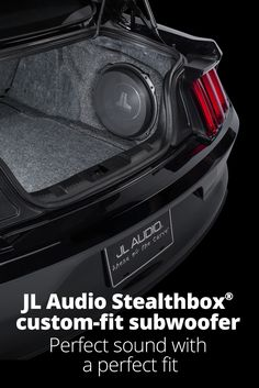 Get big bass without losing space. Vehicle-specific Stealthbox® subwoofer enclosures from JL Audio