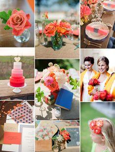 vivid coral wedding inspiration ombre wedding cake bright reception flowers