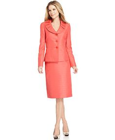 Le Suit Suit, Pleated Collar Tweed Jacket & Skirt - Womens Suits & Suit Separates - Macy's