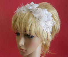 Diadema de novia blanco con plumas de por IrmasElegantBoutique