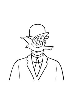 Magritte Tattoo Drawings, Body Art Tattoos, Art Drawings, Embroidery Art, Embroidery Patterns, Rene Magritte, Famous Art, Line Drawing, Art Sketches