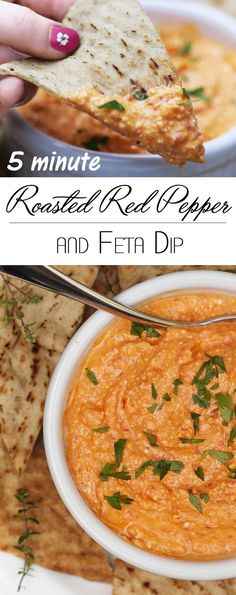 5 Minute Roasted Red Pepper and Feta Dip - Creamy and tangy. This easy, flavorful dip is the perfect party appetizer, a great burger topper, and wonderful as a sauce for shrimp or chicken. | justalittlebitofbacon.com