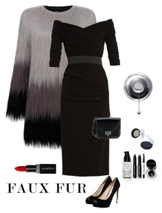 """""""Classy in Faux Fur"""" by kotnourka ❤ liked on Polyvore featuring Unreal Fur, Dolce&Gabbana, GUESS, Bobbi Brown Cosmetics, Smashbox and Valentino"""
