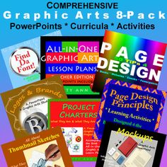 Patty Ann has bundled all her Graphic Arts products into one big comprehensive bundle at a great savings to you!  Here is what's in this 8-Pack: (Books!) All-in-One Graphic Arts Lesson Plans + 50 TiPs 4 Page Design  ~  (Task Cards!) Find Da Font  (Power Points!) Brands & Logos: What's The Distinction? + Mock-ups: Their Function & How to Create One! + Project Charters: Purpose & Performance Tasks + Thumbnail Sketches + Page Design Principles = $AVINGS IN THE 8 PACK!