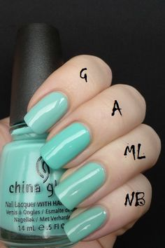 Orly Gumdrop (G), Nicole by OPI My Lifesaver (ML) and Color Club New Bohemian (NB), China Glaze Aquadelic