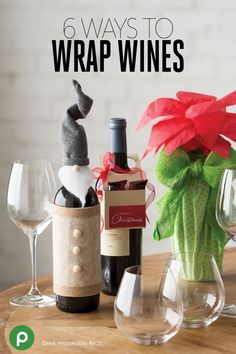 Banish the boring bottle with 6 pretty DIYs for your wine gifts. Adorn up your bottle to look just like St. Nick with a felt hat and coat, a quilt batting beard, and a button nose. Or download a poinsettia leaf template from Publix to create a flowered bottle. #winegifts