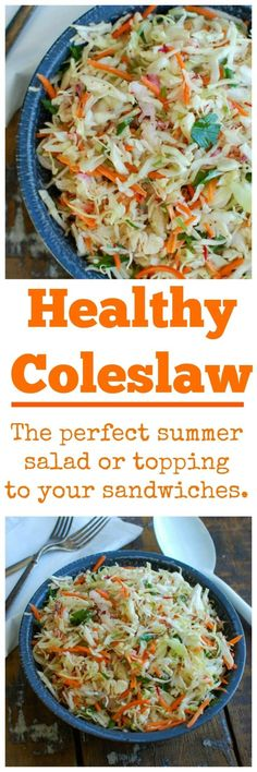 Healthy Coleslaw {Mom's Kitchen} - This light and healthy coleslaw recipe is a makes a great addition to any meal. So easy to make!.