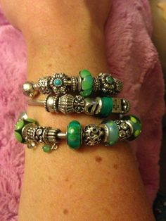 Green-a-licious Pandora bracelets...i really like this...i think this may be what i work to..