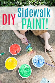If you are looking for fun outdoor activities for kids, this easy DIY sidewalk paint is perfect. This is a fun craft for kids and a great way to get them outside and active. See how to make your own sidewalk chalk paint with just two ingredients. Craft Projects For Kids, Fun Crafts For Kids, Arts And Crafts Projects, Craft Stick Crafts, Diy For Kids, Diy Crafts, Craft Ideas, Homemade Sidewalk Chalk, Sidewalk Chalk Paint
