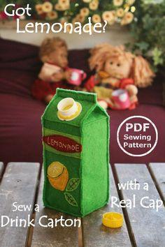Felt Food Juice Carton PDF Sewing Pattern by PlayfulToys on Etsy