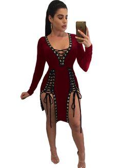 Abasona Lace up deep v neck rivet patchwork sexy bodycon dress Split night  club party dresses Long sleeve women summer dress c9b942b2c971