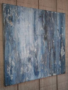 Abstract Painting Original Blue Distressed Rustic Art 24 x 24