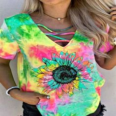 Cotton Jumpsuit, Sunflower Print, Tie Dyed, 1 Piece, V Neck T Shirt, Girl Outfits, T Shirts For Women, Shorts, Clothes
