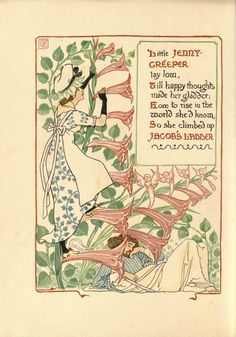 "British Library digitised image from page 62 of ""A Floral Fantasy in an Old English Garden. Set forth in verses & coloured designs"" Walter Crane, Flower Fairies, Japanese Prints, Arts And Crafts Movement, British Library, New York Public Library, Old English, Happy Thoughts, Disney Art"