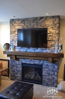 Good Free Stone Fireplace exterior Concepts Hottest Free of Charge Stone Fireplace with tv Thoughts Frontier Ledge (Color: Walnut) Fireplace Tv Wall, Basement Fireplace, Brick Fireplace Makeover, Farmhouse Fireplace, Fireplace Remodel, Living Room With Fireplace, Fireplace Design, Home Living Room, Fireplace Ideas