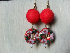 """Earrings go great with the red alpaca bracelet.  Alpaca fiber balls and Christmas (not too far off).  Designed by Sarah for """"Well Criated""""."""