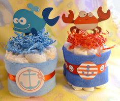 Ahoy It's A Boy...Diaper Cakes..Nautical Baby by mollbelldesigns, $9.75