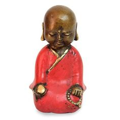 UNICEF Market | Aged Bronze Statuette from Java Buddhism Art - Meditating Little Buddha