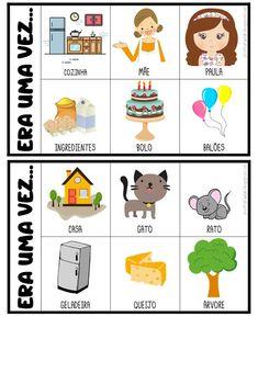 FICHAS PARA PRODUÇÃO DE TEXTO Preschool Learning Activities, Preschool Classroom, Kindergarten, Free Alphabet Printables, Poetry For Kids, Teaching Spanish, Conte, Pre School, Literacy