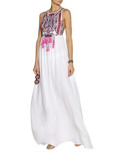 White Tribe Print BOHO Style Sleeveless Maxi Dress | Choies