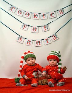 Twins Crochet Christmas Red and Green Stocking Hats on Etsy, $40.00