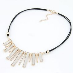 Simple Matting Bars Fashion Rhinestone Inlaid Rope Necklace