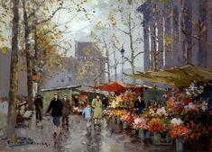 Flower Market At La Madeleine    Artist: Edouard Cortes