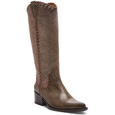 Donald J Pliner Women's Gilla- Green (5.5) ($499) ❤ liked on Polyvore featuring shoes, boots, green, knee-high boots, leather, western boot, leather boots, green knee high boots, knee high western boots and western style boots