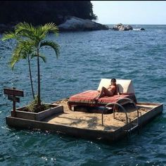 This lovely floating island belongs to the Ocean Grill Vallarta on Colomitos Beach in Mexico <3
