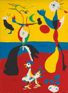 Le Fermier et son épouse, Joan Miró, Sold for € at the Impressionist and Modern Art evening sale, Sotheby's, 05 February Source: Sotheby's Spanish Painters, Spanish Artists, Joan Miro Paintings, Max Ernst, Art Moderne, Art Abstrait, Illustrations, Art History, Modern Art